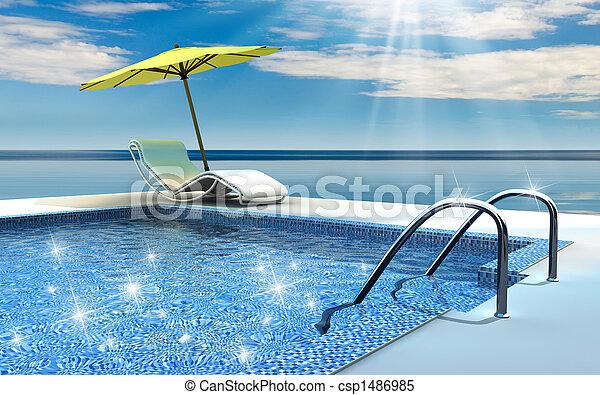 piscina, natação - csp1486985