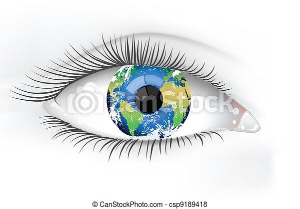 planeta, olho, terra, desaturated - csp9189418