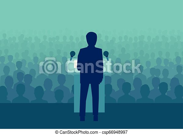 político, torcida, pessoas, grande, vetorial, homem negócios, ou, falando - csp66948997