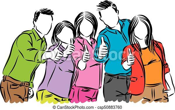 positivo, vetorial, grupo, ilustração, pessoas - csp50883760