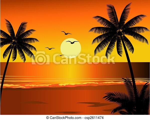 praia tropical, ilustração - csp2611474