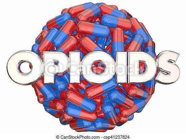 prescrição, vício, pílulas, cápsulas, opioids, perigo, drogas, ilustração, 3d - csp41237824