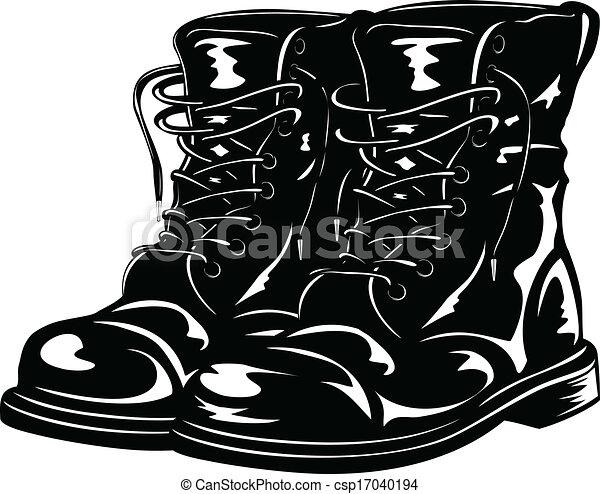 pretas, botas, exército - csp17040194