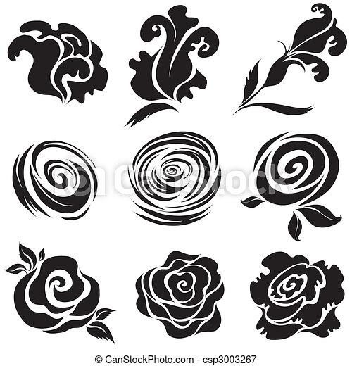 pretas, jogo, flor, rosa - csp3003267