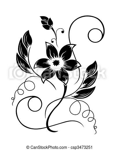 pretas, padrão, flor, branca - csp3473251