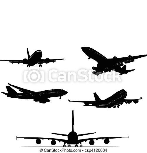pretas, silhouett, avião, branca - csp4120084