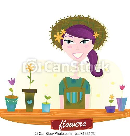 primavera, mulher, flores, jardim - csp3158123