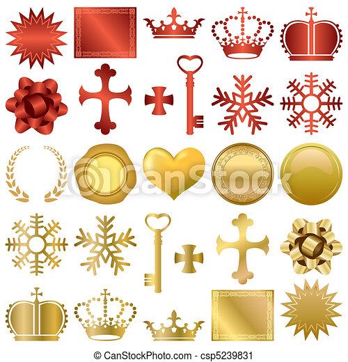 projeto fixo, ornamentos, ouro, vermelho - csp5239831