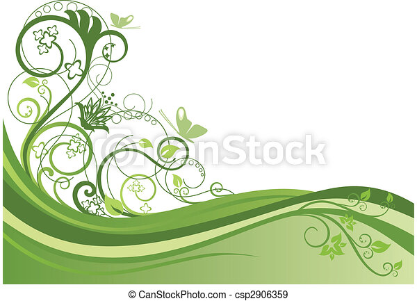 projeto floral, 1, borda, verde - csp2906359