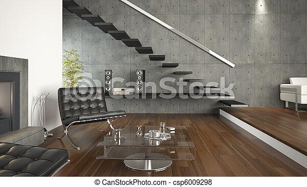 quarto moderno, vivendo, desenho, interior - csp6009298