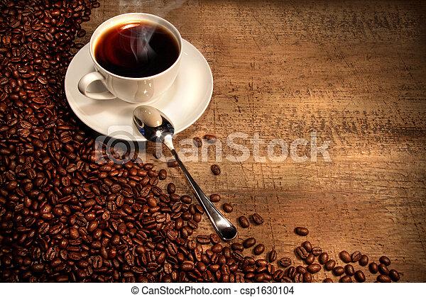 rústico, feijões, copo, tabela, café, branca - csp1630104