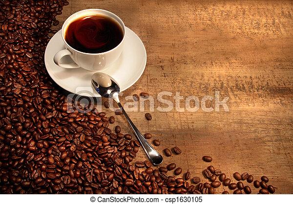 rústico, feijões, copo, tabela, café, branca - csp1630105