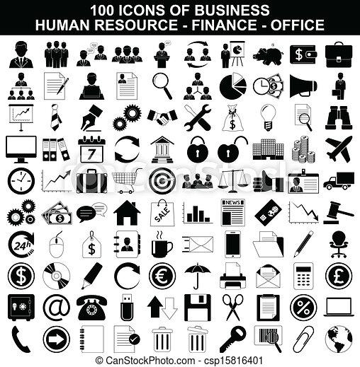 recurso, jogo, finanças, ícones escritório, negócio, human - csp15816401