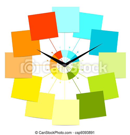 relógio, texto, criativo, desenho, adesivos, seu - csp9393891