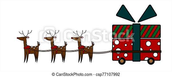 rena, vetorial, grande, cute, wheels., grande, gift., forma, nose., branca, harness., carreta, veado, ilustração, gifts;, vermelho, isolado, carregar, presente natal, experiência. - csp77107992