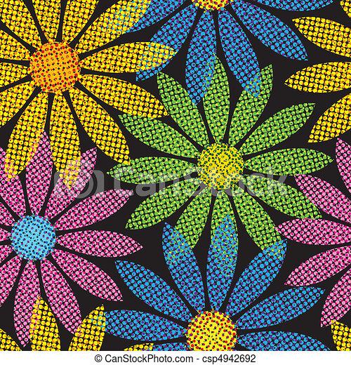 repetindo, flor, fundo, halftone - csp4942692