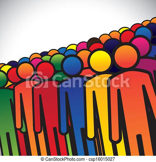 representa, gráfico, conceito, grupo, estudantes, coloridos, pessoas, formando, abstratos, ícones, -, trabalhadores, ou, jardim infância, também, cores, crianças, vário, vector., empregados, crianças - csp16015027