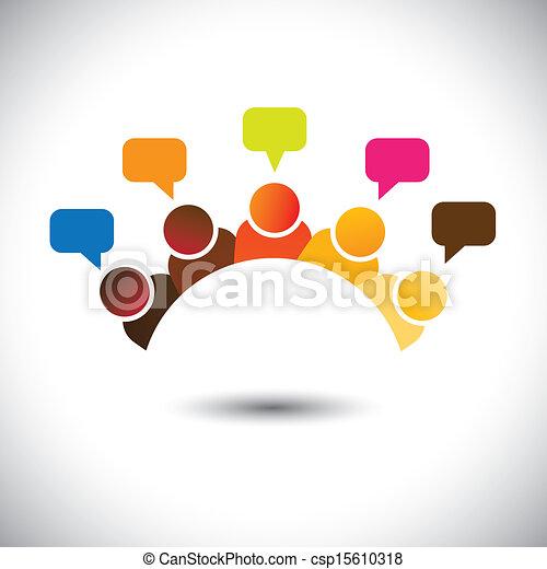 represente, reuniões, grupo, escritório, etc, este, graphic., ilustração, trabalho equipe, fazendo temporal, vetorial, cérebro, lata, membros, discussões, executives(employees), opinions-, airing, opiniões, pessoal - csp15610318