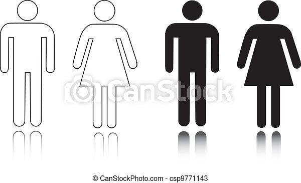 restroom, macho, femininas, ícone - csp9771143