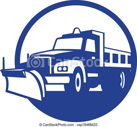 retro, arado, caminhão, círculo, neve - csp18488433