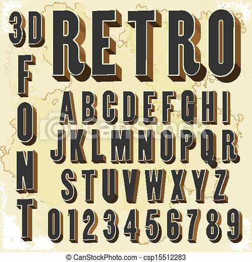 retro, tipo, 3d, fonte - csp15512283
