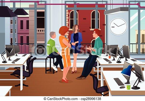 reunião informal, escritório, negócio - csp28996138