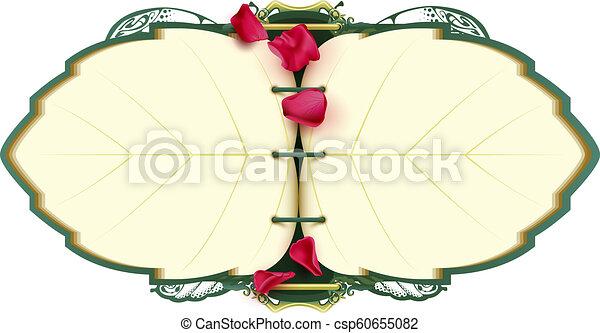 rosa, forma, livro, árvore, abertos, pétala, caderno, folha - csp60655082