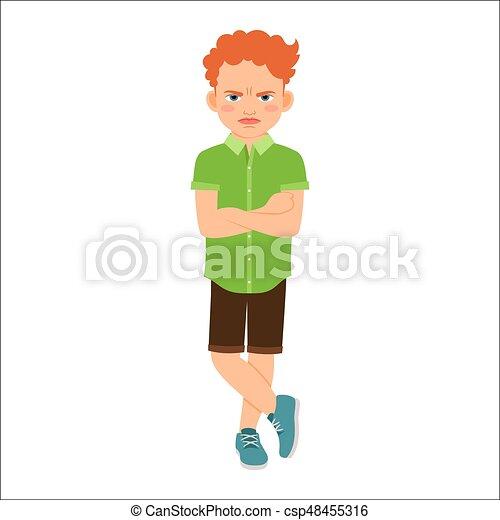 ruivo, menino, zangado, camisa verde - csp48455316