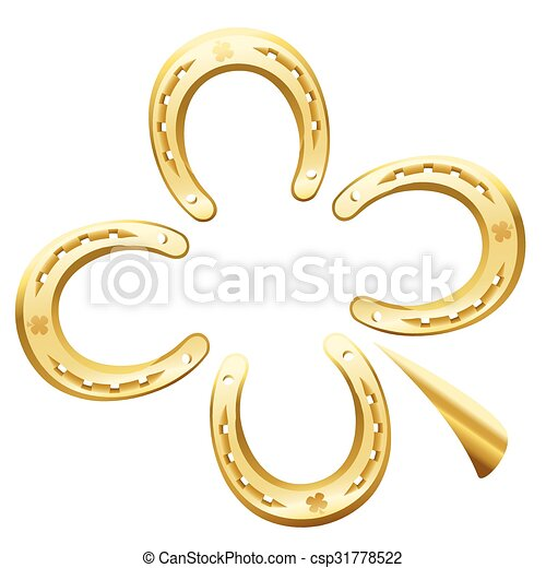 símbolo, ferradura, sorte, trevo, folha - csp31778522