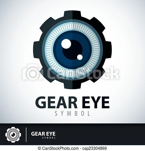 símbolo, olho, engrenagem, ícone - csp23304869