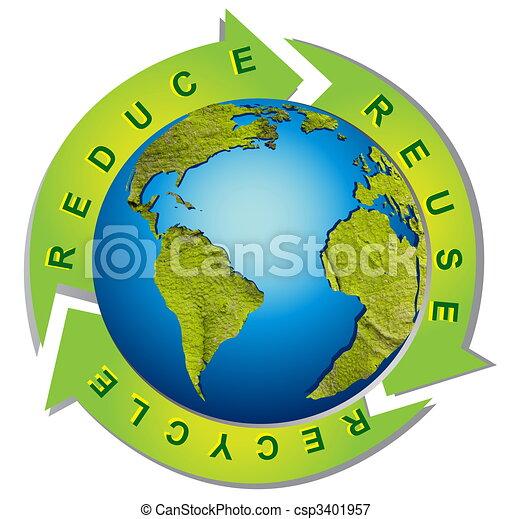 símbolo, reciclagem, -, meio ambiente, limpo, conceitual - csp3401957