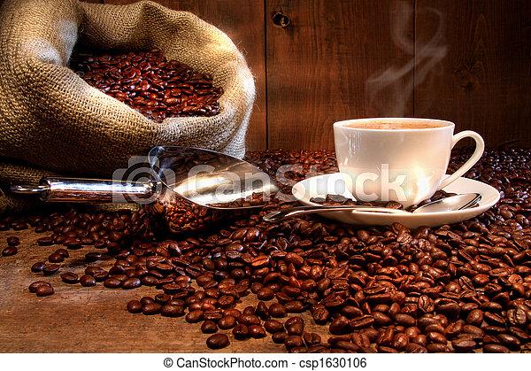 saco, feijões, copo, assado, burlap, café - csp1630106