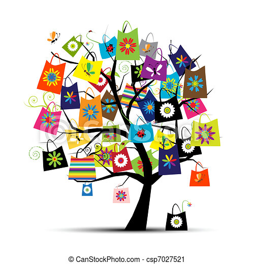 sacolas, desenho, shopping, seu, árvore - csp7027521