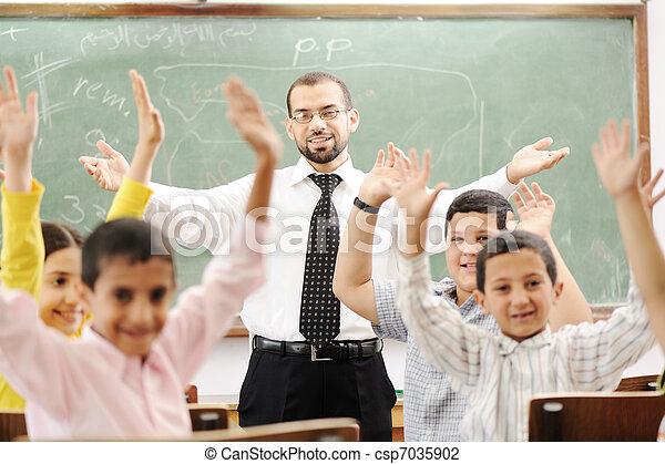 sala aula, atividades, escola, aprendizagem, educação, crianças, feliz - csp7035902