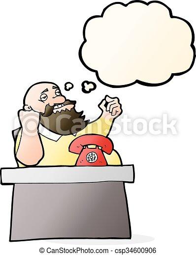 saliência, bolha pensamento, caricatura, arrogante, homem - csp34600906