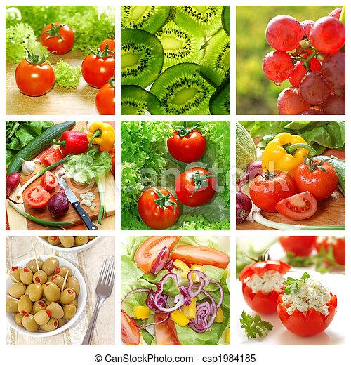 saudável, colagem, legumes, alimento - csp1984185