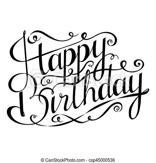 saudação, mão, calligraphy., aniversário, desenhado, feliz, inscription., cartão, design. - csp45000536