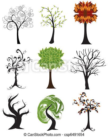 sazonal, abstratos, jogo, árvores - csp6491654