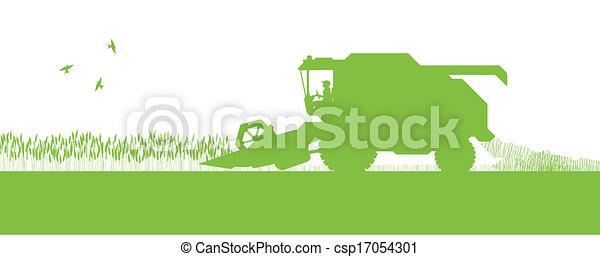 sazonal, conceito, harvester, ecologia, combinar, agrícola, agricultura, paisagem - csp17054301