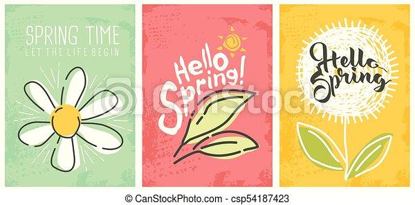 sazonal, primavera, bandeiras, olá, cobrança - csp54187423