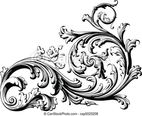 scroll, floral - csp5023208