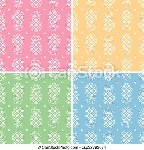 seamless, cobrança, padrões, vetorial, abacaxi, repetindo - csp32793674