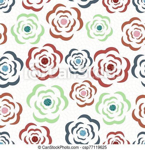 seamless, teste padrão flor, fundo, coloridos, brilhar - csp77119625