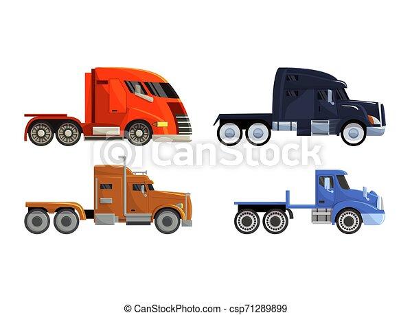 semi-caminhão, carga, jogo, transporte, fundo, semi, despacho, isolado, ilustração, trucking, entrega, vetorial, caminhão, transportar, frete, veículo, branca, reboque, camião, transporte - csp71289899