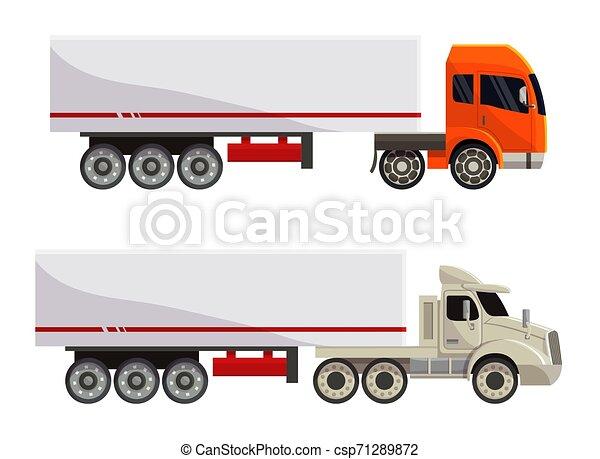 semi-caminhão, carga, jogo, transporte, fundo, semi, despacho, isolado, ilustração, trucking, entrega, vetorial, caminhão, transportar, frete, veículo, branca, reboque, camião, transporte - csp71289872