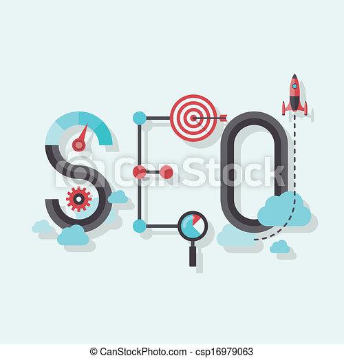 seo, apartamento, palavra, ilustração - csp16979063