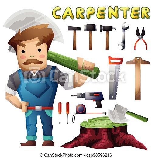 separado, camadas, carpinteiro, jogo, animação, homem - csp38596216