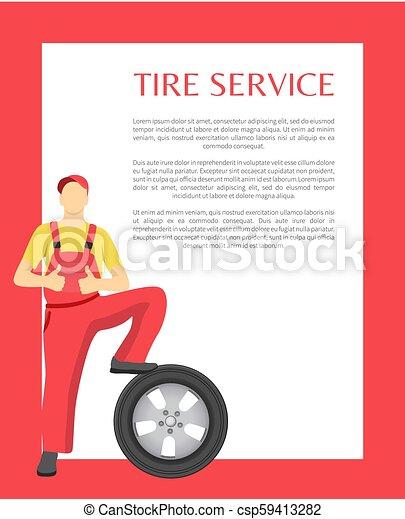 serviço, cartaz, ilustração, vetorial, feliz, homem - csp59413282