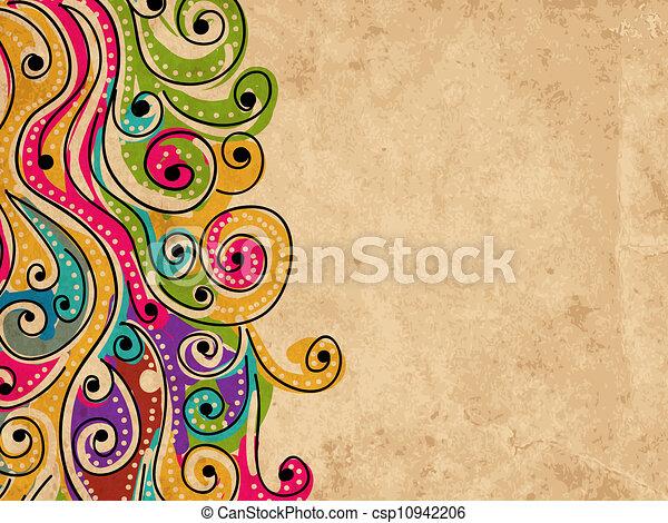 seu, grunge, padrão, abstratos, mão, fundo, desenhado, onda, desenho - csp10942206