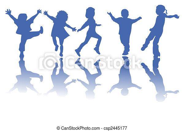 silhuetas, crianças, feliz - csp2445177